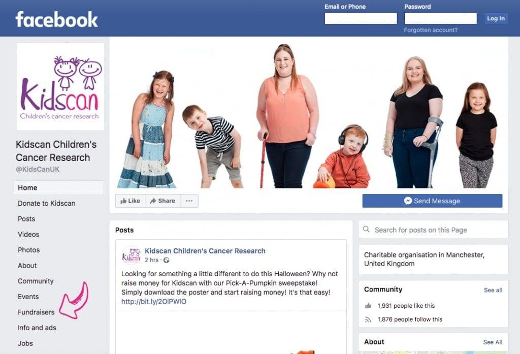 Kidscan-Facebook-Fundraiser-Step-one