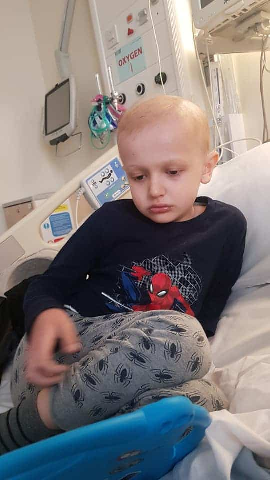 Kidscan Ambassador Theo in hospital