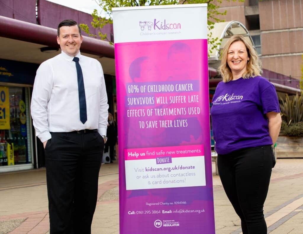 Photo: Chris Doidge, Centre Manager at Swinton Square and Alison England, Kidscan representative.